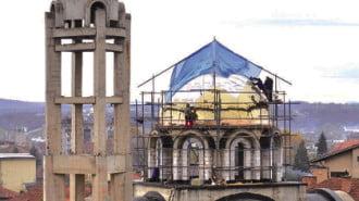 """""""Позлатяват"""" купола на новия храм на Монтана"""