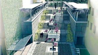 Водни каскади, зелени площи и мини лятно кино преобразяват стълбите към Сахат тепе
