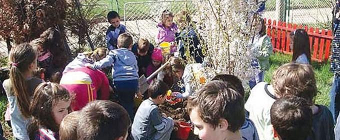 """Децата от ДГ """"Шарена дъга"""" в кв. """"Враждебна"""" по време на екоакция в двора на градината"""